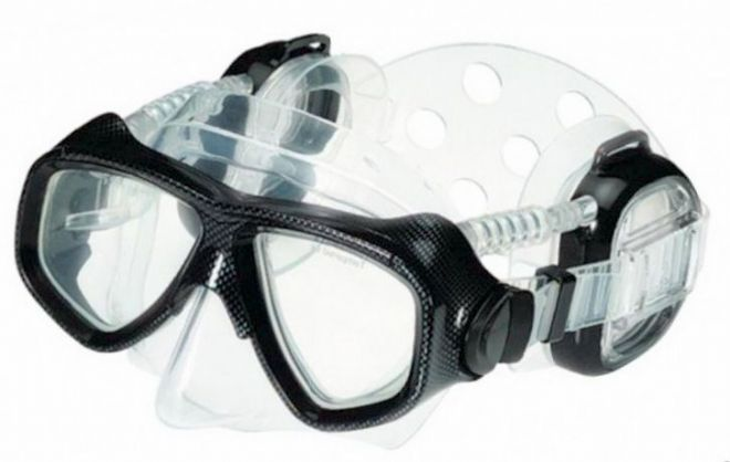 IST Pro Ear Diving / Snorkelling Mask in Black Clear Skirt